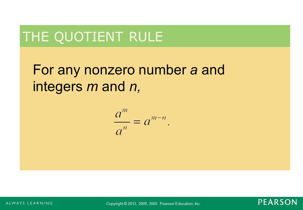 For any nonzero number a and integers m and n,