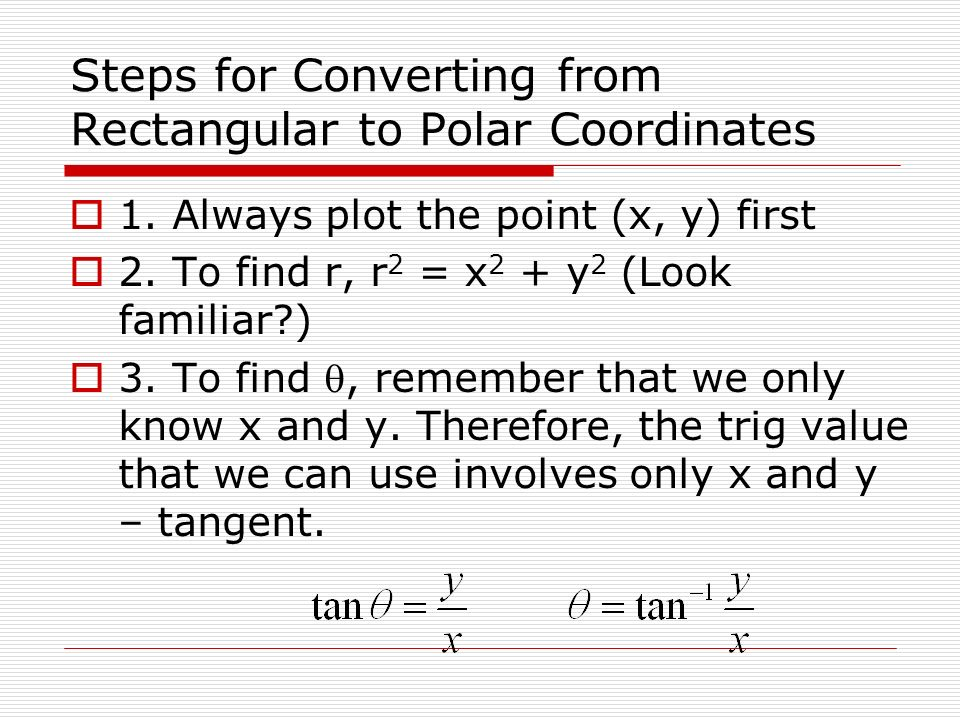 Steps for Converting from Rectangular to Polar Coordinates