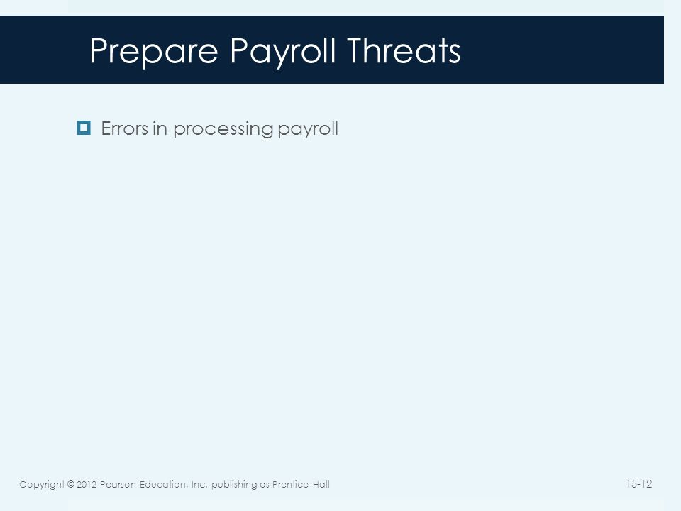 Prepare Payroll Threats