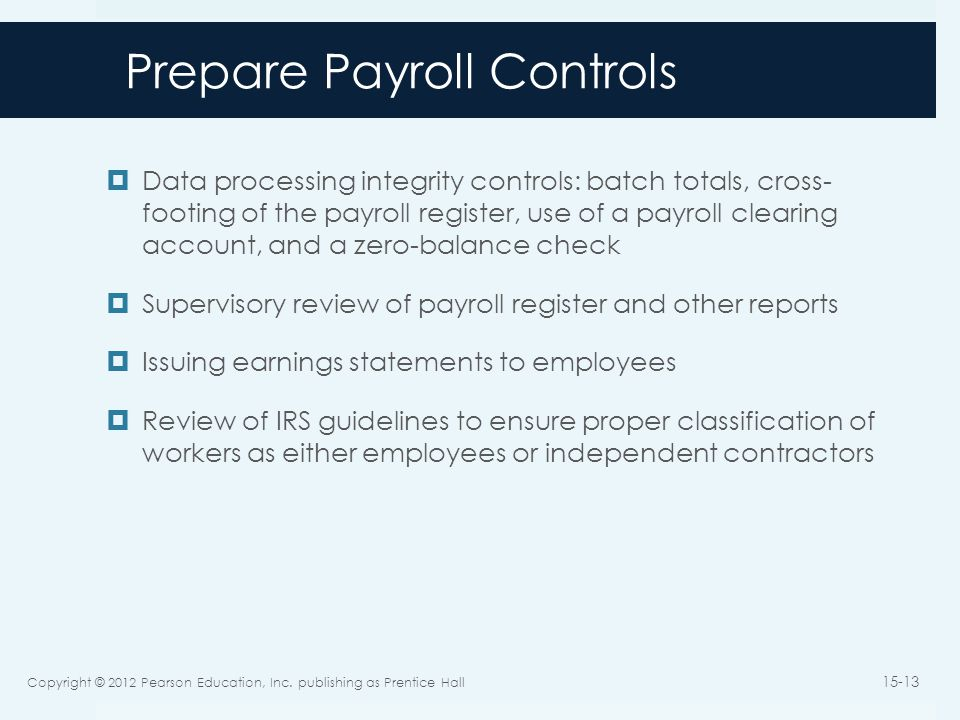 Prepare Payroll Controls