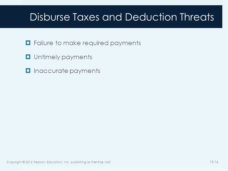 Disburse Taxes and Deduction Threats