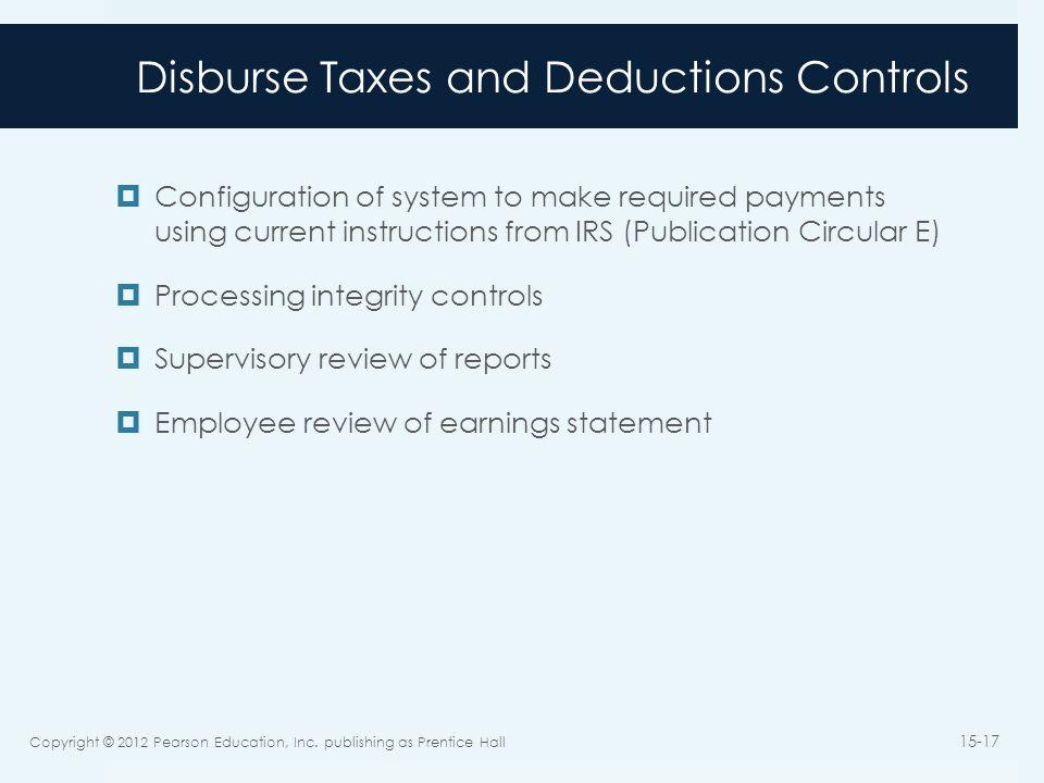 Disburse Taxes and Deductions Controls
