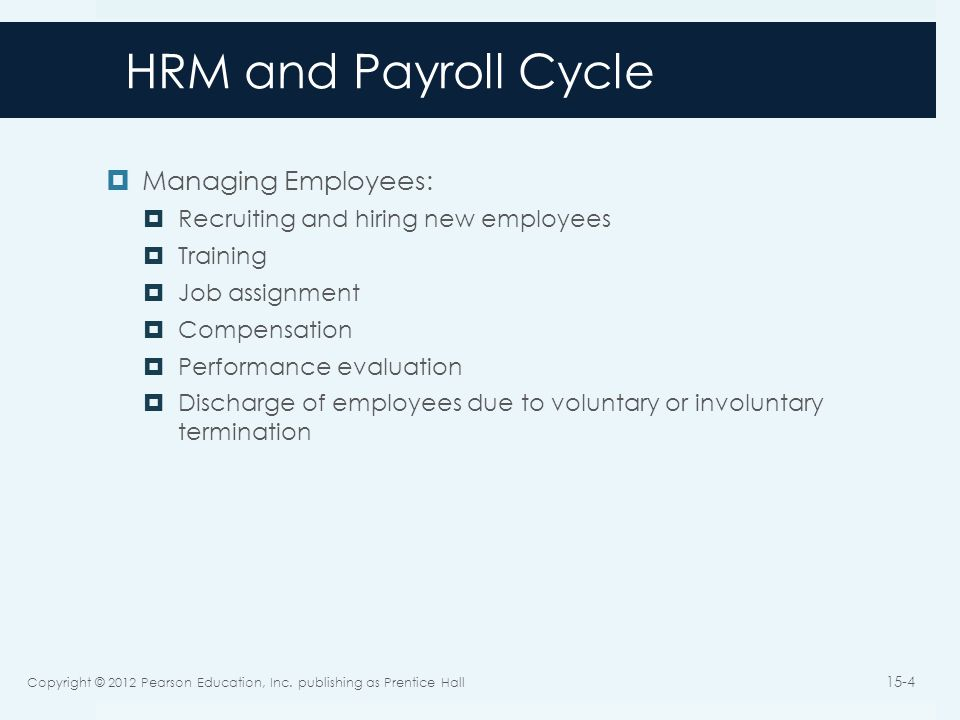 HRM and Payroll Cycle Managing Employees: