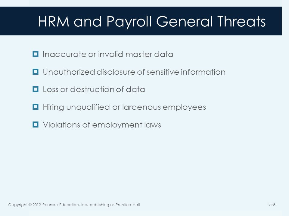 HRM and Payroll General Threats