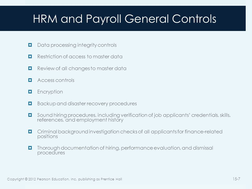 HRM and Payroll General Controls