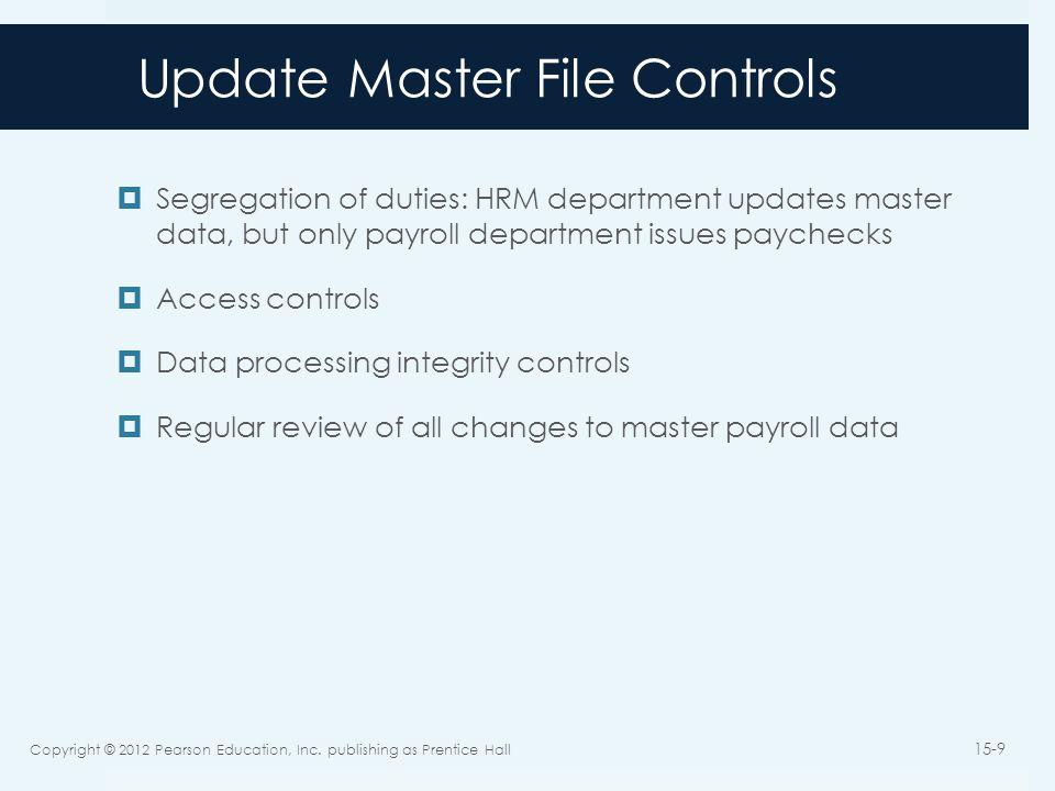 Update Master File Controls