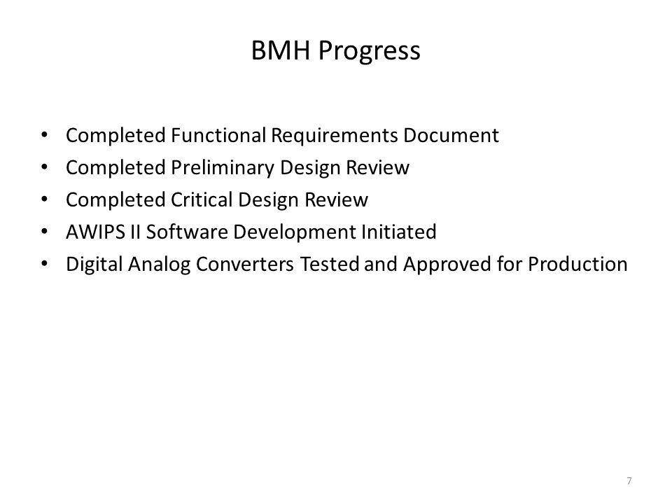 BMH Progress Completed Functional Requirements Document