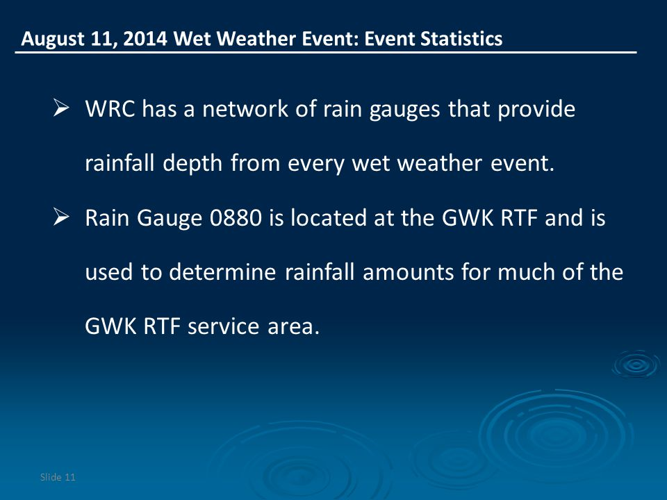 August 11, 2014 Wet Weather Event: Event Statistics