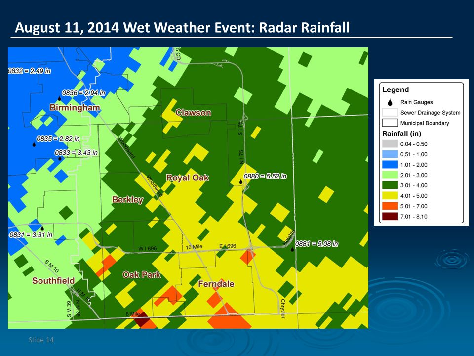 August 11, 2014 Wet Weather Event: Radar Rainfall