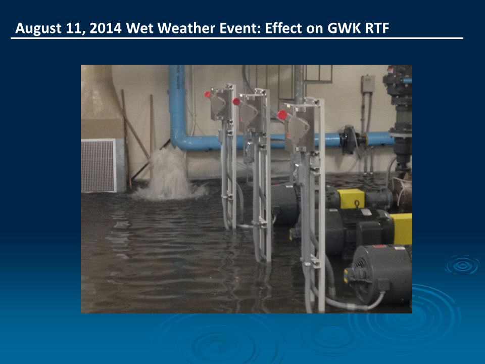 August 11, 2014 Wet Weather Event: Effect on GWK RTF