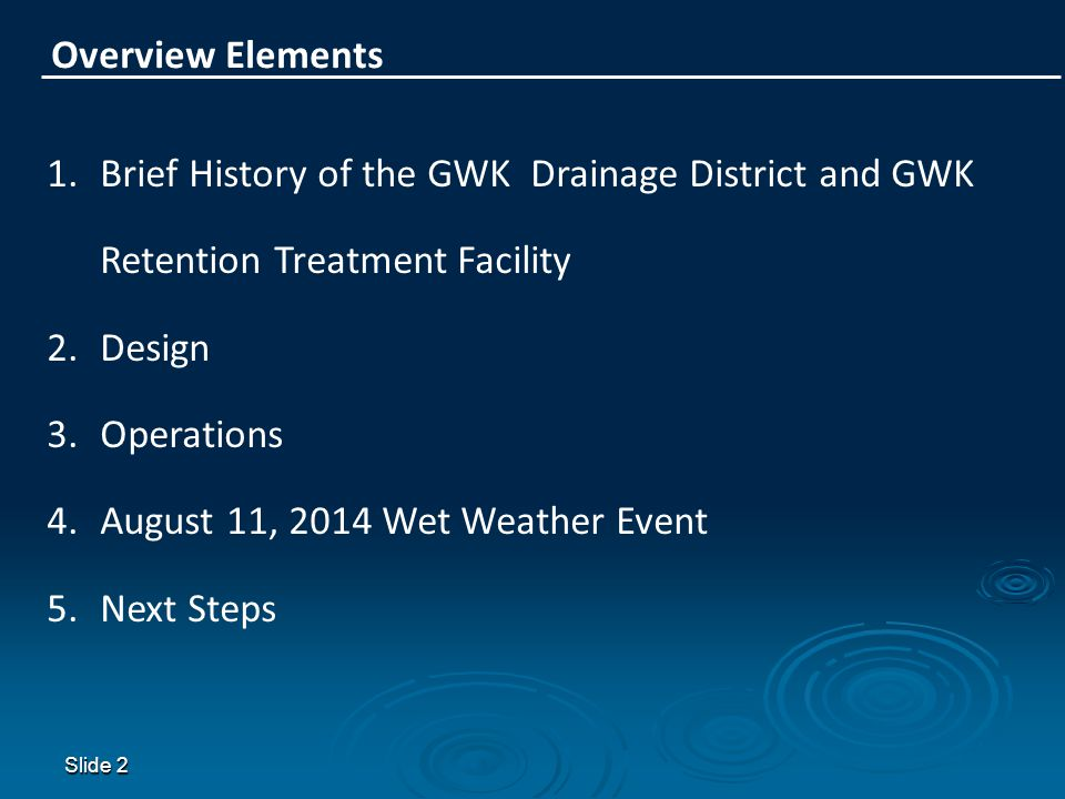 August 11, 2014 Wet Weather Event Next Steps