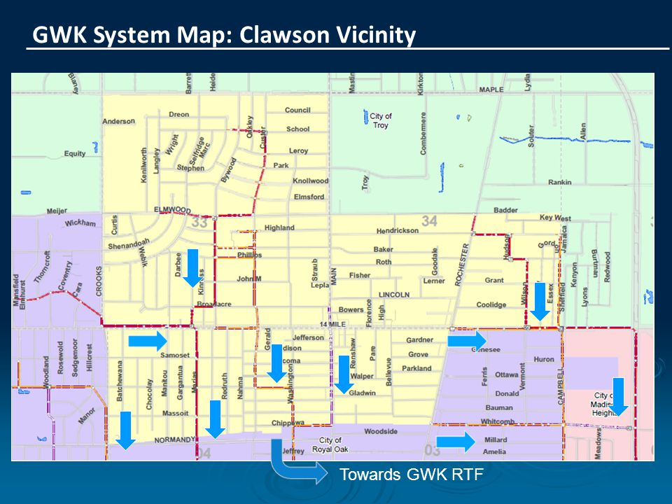 GWK System Map: Clawson Vicinity