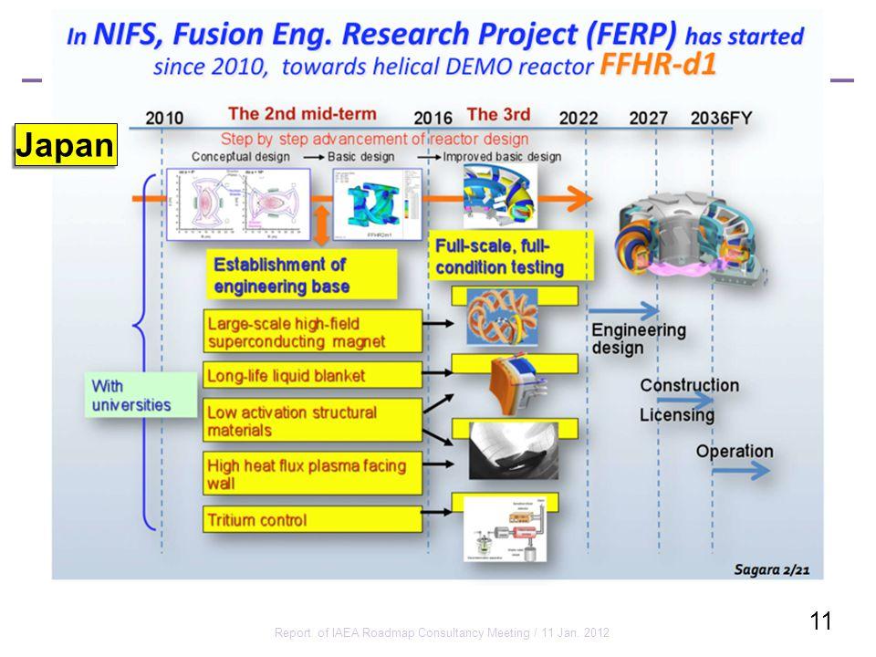 Report of IAEA Roadmap Consultancy Meeting / 11 Jan. 2012