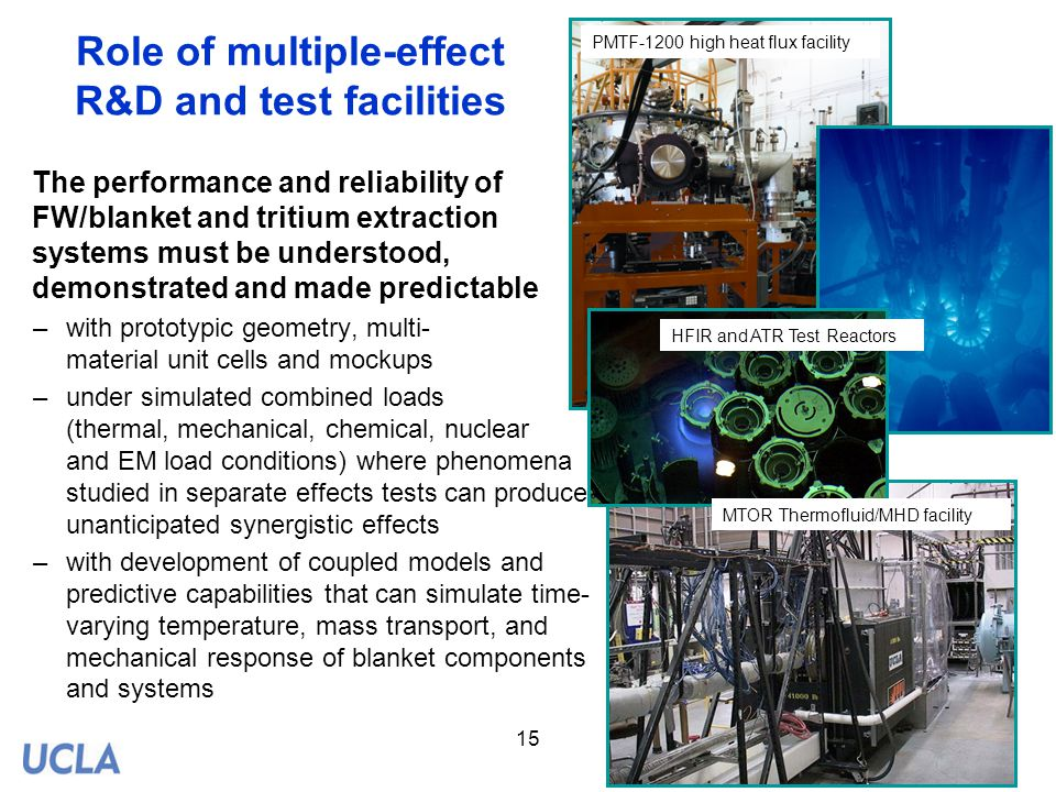 Role of multiple-effect R&D and test facilities
