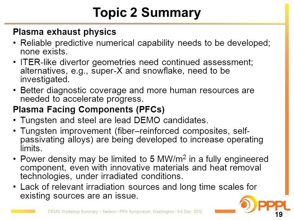 Topic 2 Summary Plasma exhaust physics