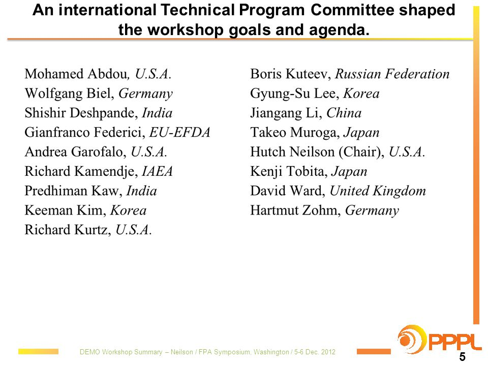An international Technical Program Committee shaped the workshop goals and agenda.