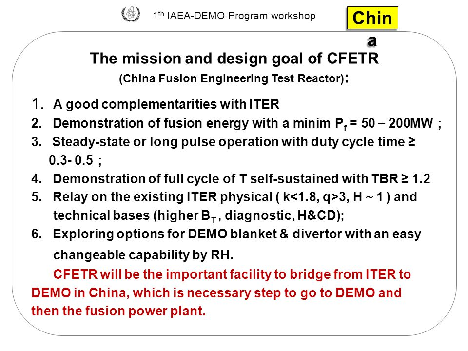 China The mission and design goal of CFETR