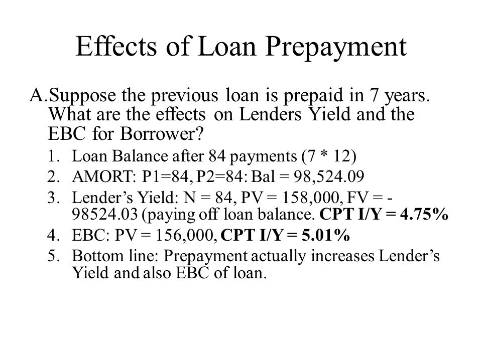 Effects of Loan Prepayment