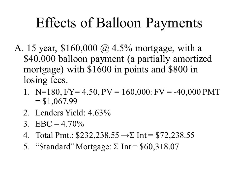 Effects of Balloon Payments