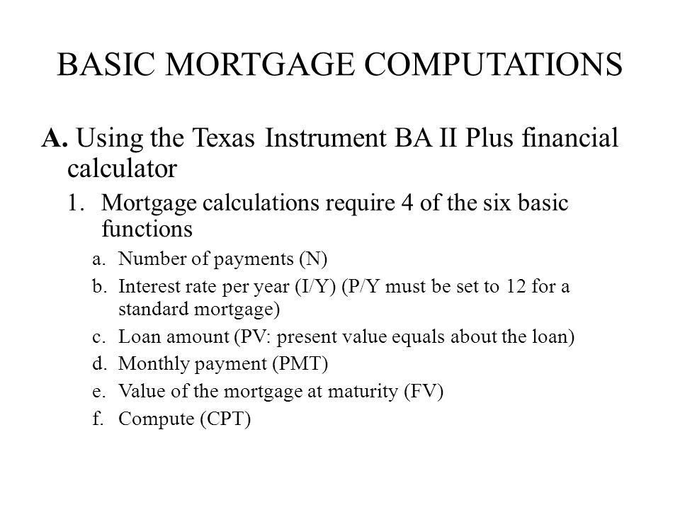 basic mortgage computations