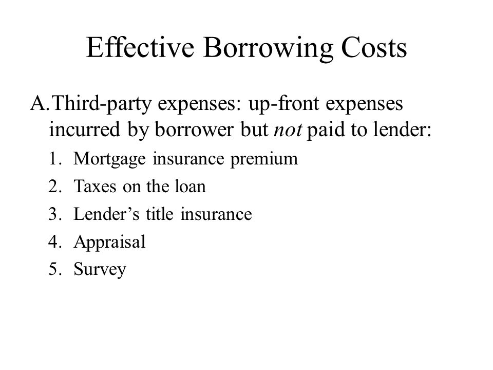 Effective Borrowing Costs