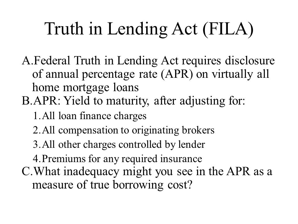 Truth in Lending Act (FILA)