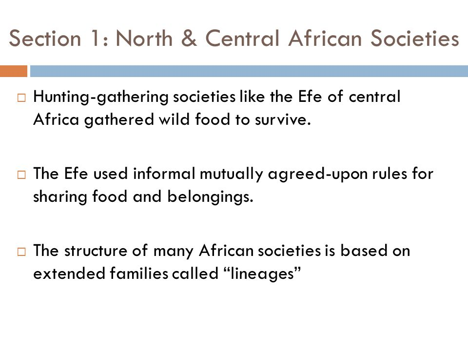 Section 1: North & Central African Societies