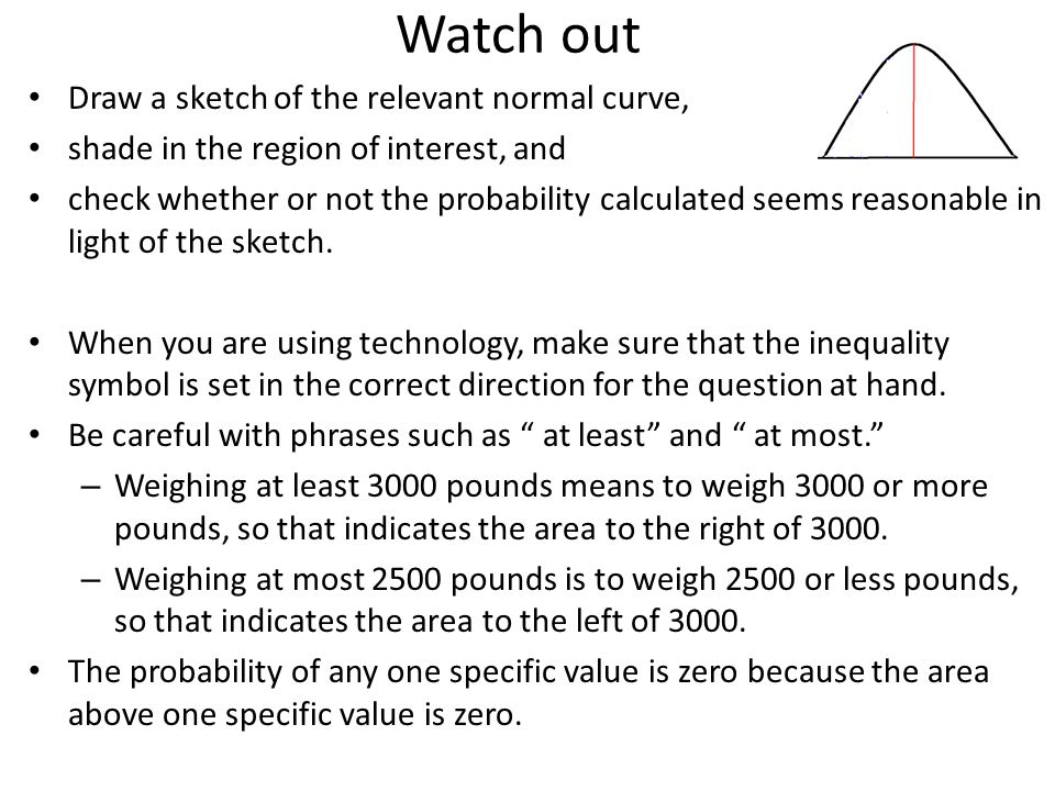 Watch out Draw a sketch of the relevant normal curve,