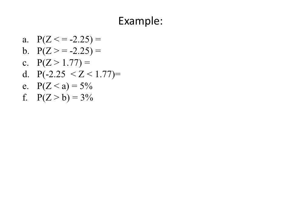Example: P(Z < = -2.25) = P(Z > = -2.25) = P(Z > 1.77) =
