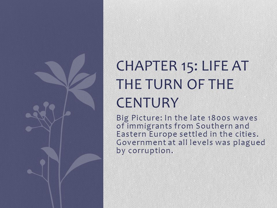 Chapter 15: Life at the Turn of the Century
