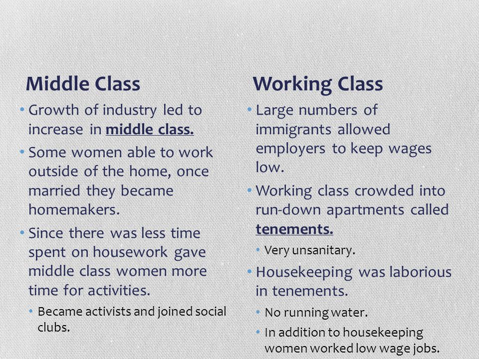 Middle Class Working Class