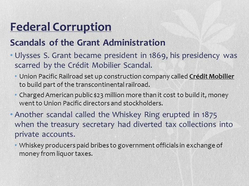 Federal Corruption Scandals of the Grant Administration