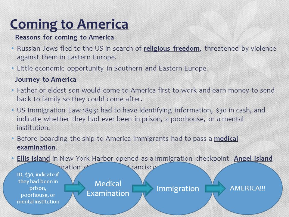 Coming to America Medical Examination Immigration