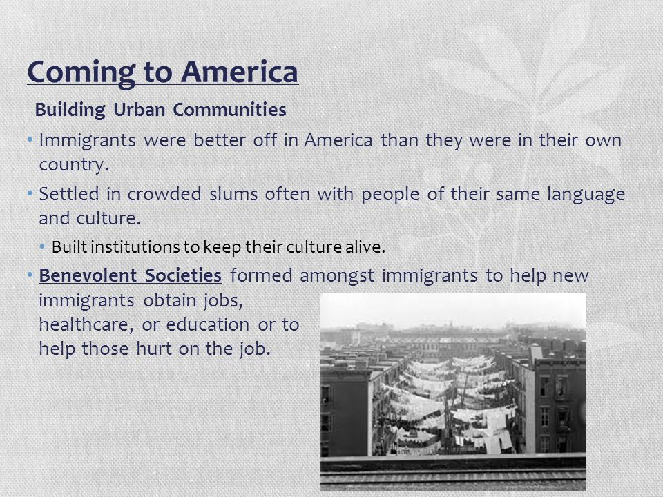 Coming to America Building Urban Communities