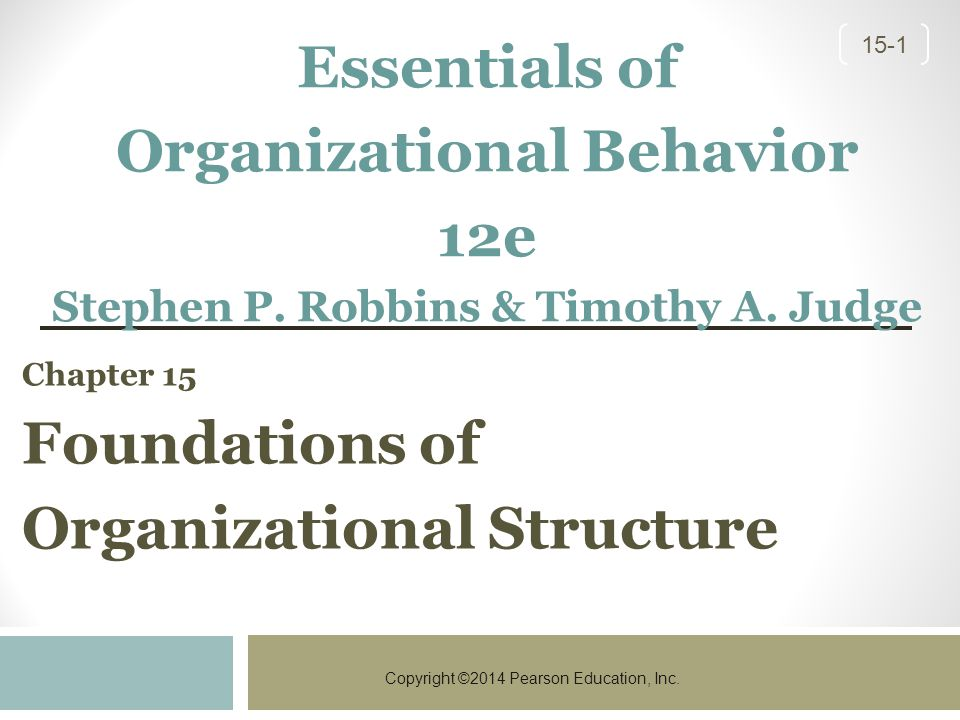 Chapter 15 Foundations of Organizational Structure