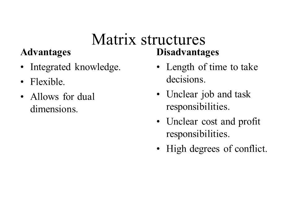 Matrix structures Advantages Integrated knowledge. Flexible.