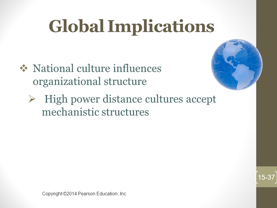 Global Implications National culture influences organizational structure. High power distance cultures accept mechanistic structures.