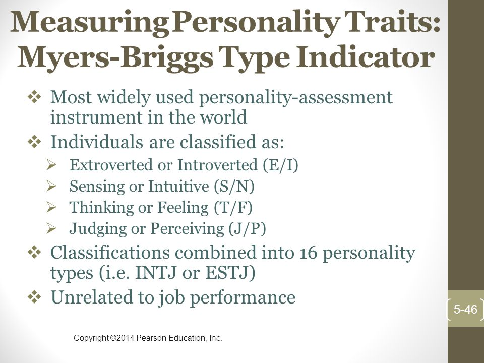 Measuring Personality Traits: Myers-Briggs Type Indicator