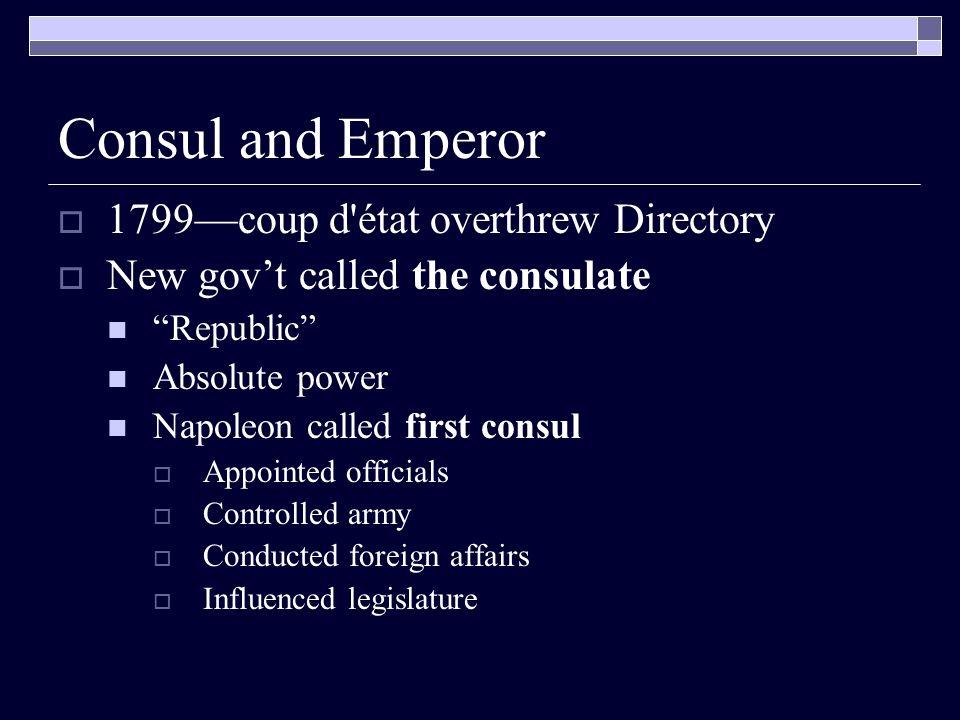 Consul and Emperor 1799—coup d état overthrew Directory