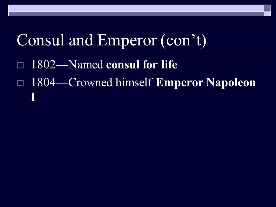 Consul and Emperor (con't)
