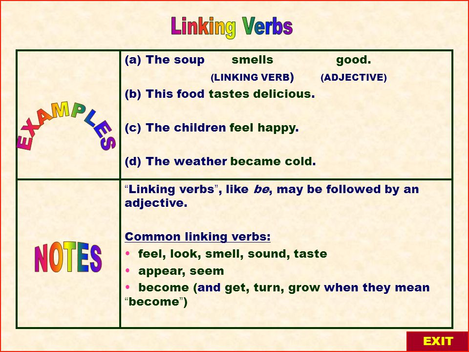 Linking Verbs EXAMPLES NOTES (a) The soup smells good.