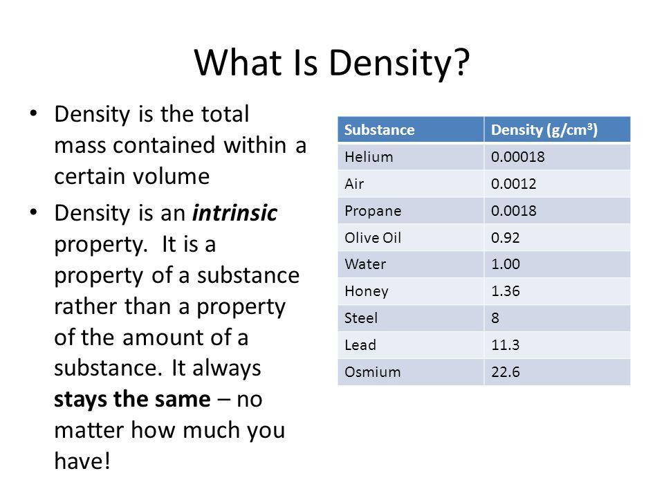 What Is Density Density is the total mass contained within a certain volume.