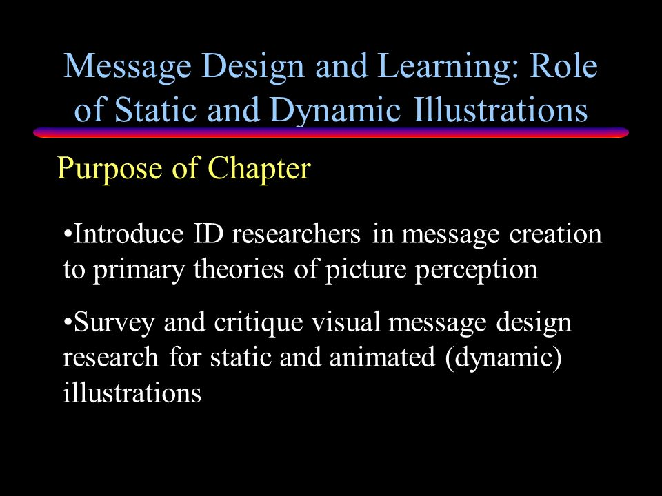Message Design and Learning: Role of Static and Dynamic Illustrations