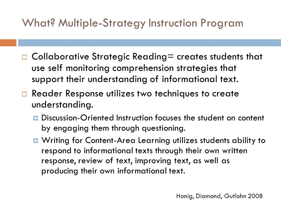 What Multiple-Strategy Instruction Program