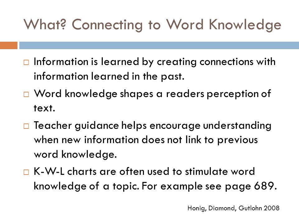 What Connecting to Word Knowledge
