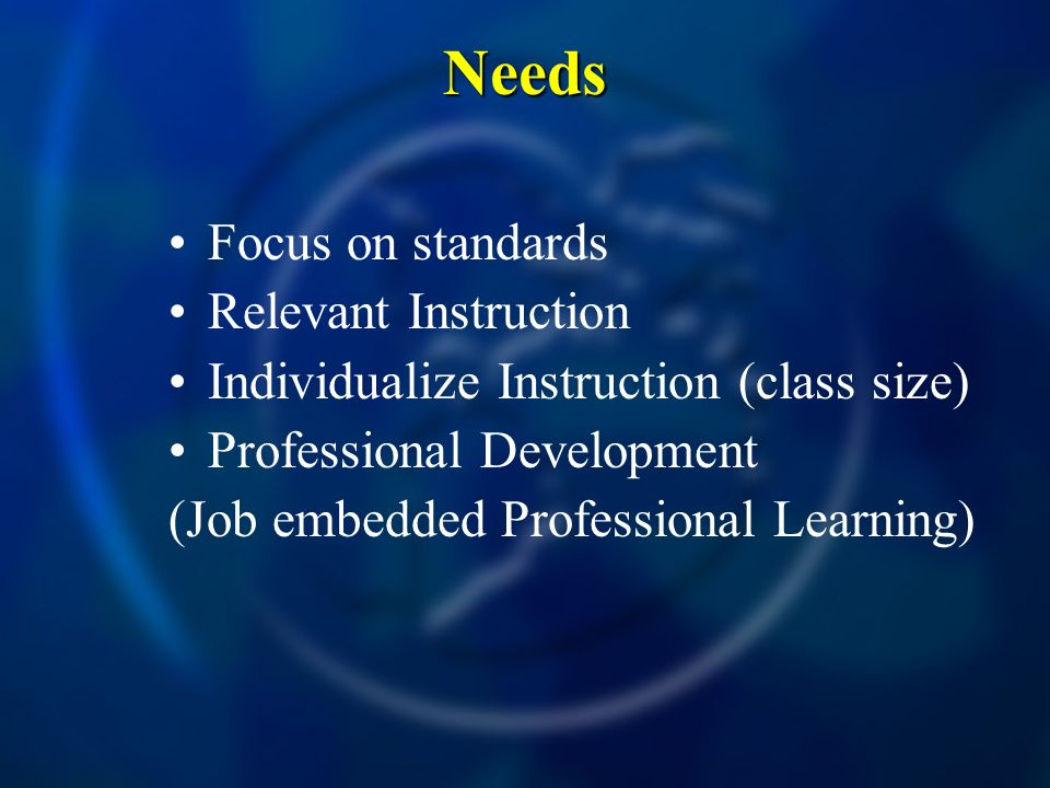 Needs Focus on standards Relevant Instruction
