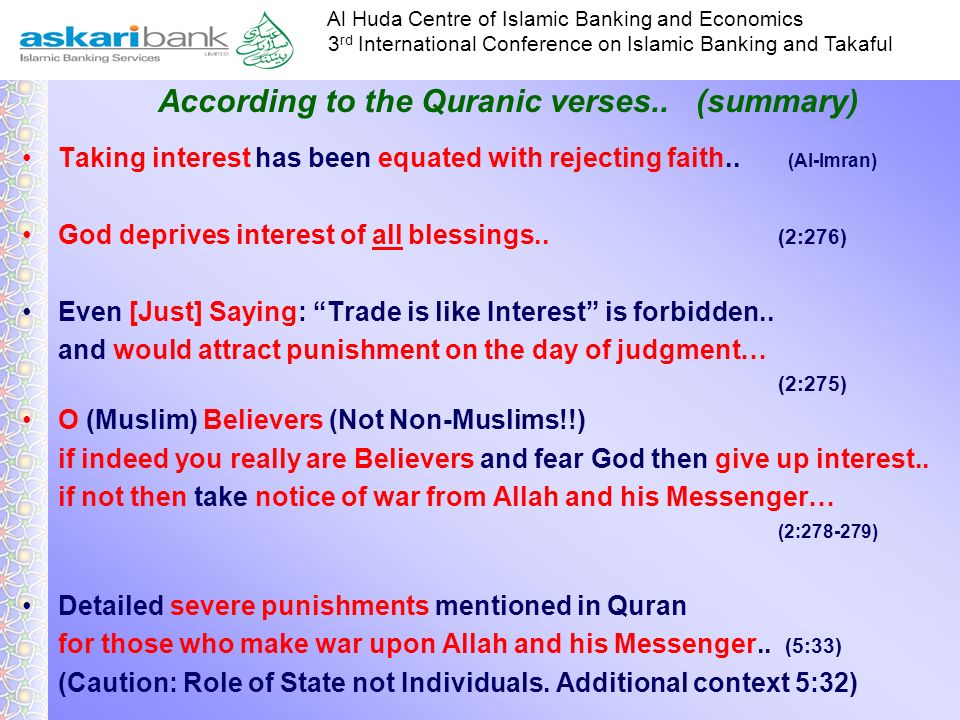 According to the Quranic verses.. (summary)