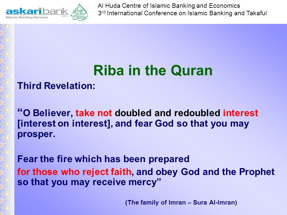 Riba in the Quran Third Revelation: