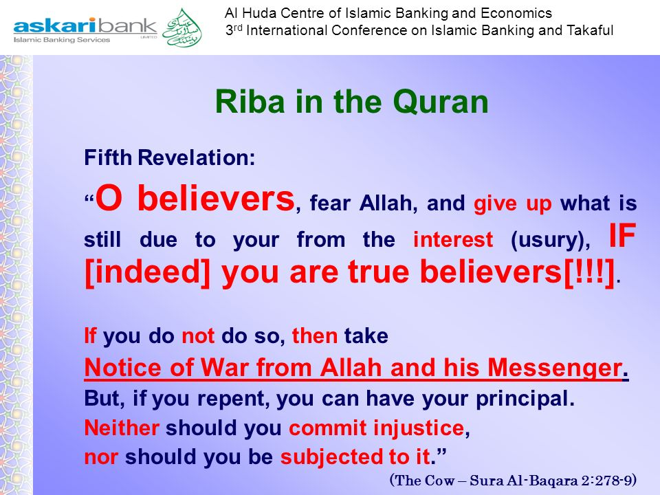 Riba in the Quran Fifth Revelation: