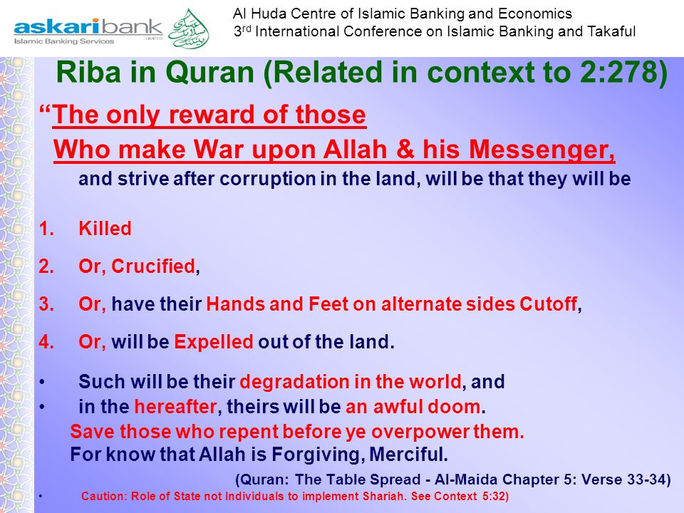 Riba in Quran (Related in context to 2:278)